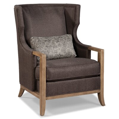Wood Trimmed Transitional Wing back Chair Color: Charcoal
