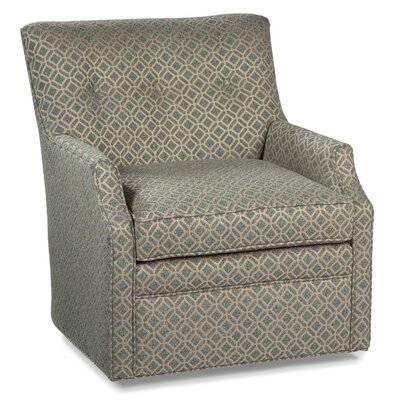 Button Back Swivel Arm Chair Color: Aqua