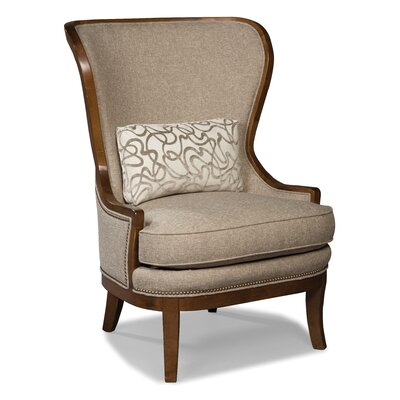 High Back Wood Framed Wing Arm Chair Color: Straw
