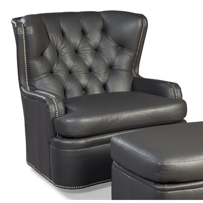 Tufted back Leather Wing back chair Color: Latte