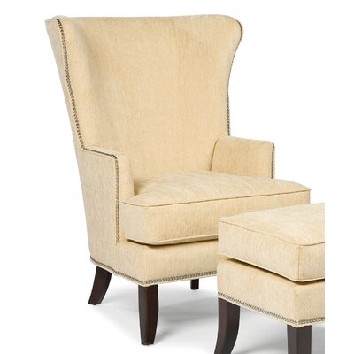 Transitional Wing back Chair and Ottoman Color: Taupe
