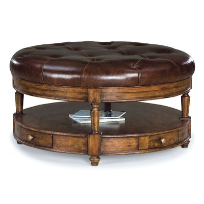 Fairfield Chair Tufted Round Leather Cocktail Ottoman In