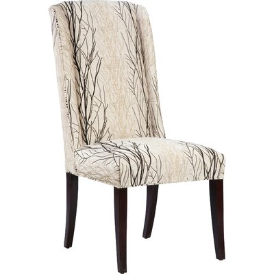 High Back Upholstered Dining Chair Finish: Espresso, Upholstery: Ebony