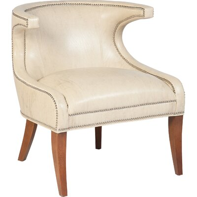 Transitional Accent Wingback Chair Upholstery: Bone