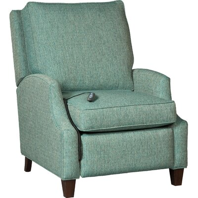 Narrow Arm Leather Power Recliner Upholstery: Teal