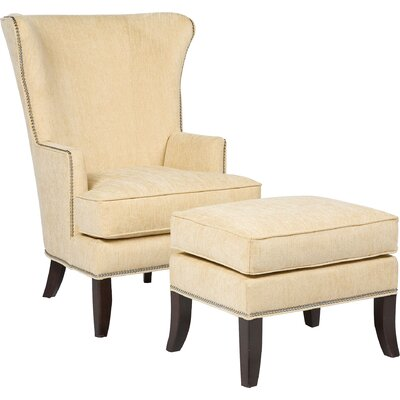Transitional Wingback Chair Upholstery: 9163 Linen