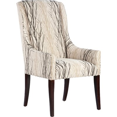 High Back Upholstered Dining Chair Color: Espresso, Upholstery: 4901 Ebony