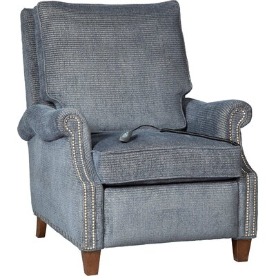 Roll Arm Leather Power Recliner Upholstery: Indigo