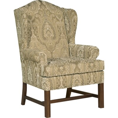 Chippendale Wingback Chair Upholstery: Flax
