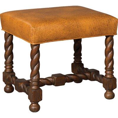 Twist Leg Leather Ottoman Upholstery: Cognac