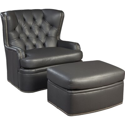 Swivel Wingback Chair and Ottoman Upholstery: Slate