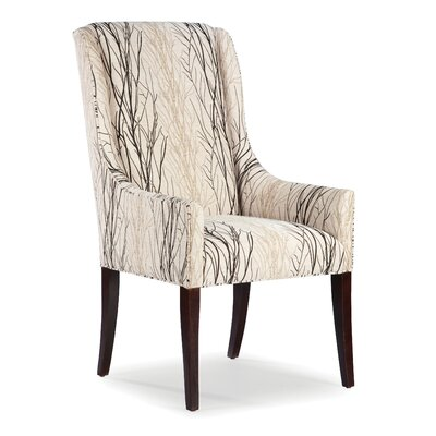 High Back Dining Arm Chair Upholstery: Ebony, Finish: Manhattan