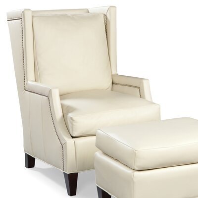 Leather High Back Wing Chair Color: Pearl