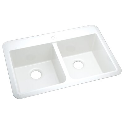 Vikrell Slope 33 x 22 Undermount/Self Rimming Double Bowl Kitchen Sink Finish: White