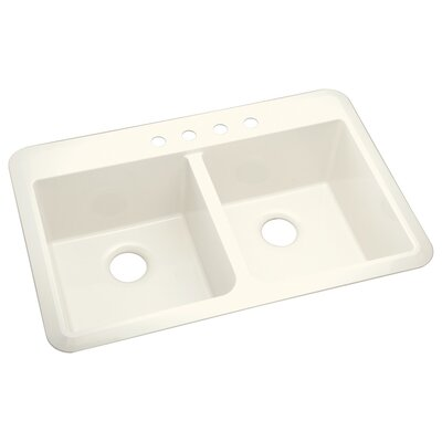 Vikrell Slope 33 x 22 Undermount/Self Rimming Double Equal Bowl Kitchen Sink Finish: Biscuit