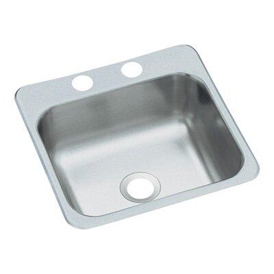 15 x 15 2-Hole Self Rimming Single Bowl Entertainment Kitchen Sink