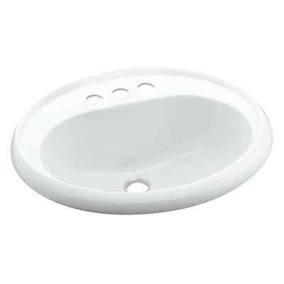 Vikrell Circular Drop-In Bathroom Sink with Overflow Sink Finish: White