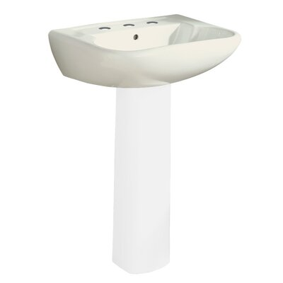Southhampton Ceramic 24 Pedestal Bathroom Sink with Overflow Finish: Biscuit