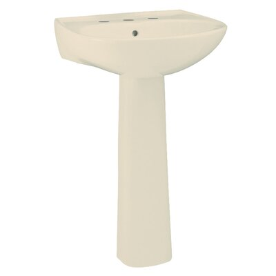 Sacramento Lavatory 21 Pedestal Bathroom Sink with Overflow Finish: Almond