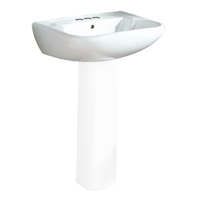Southhampton Ceramic 24 Pedestal Bathroom Sink with Overflow Finish: White