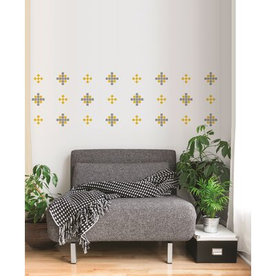 Forme Crazy Square Wall Decal Color: Gray And Yellow