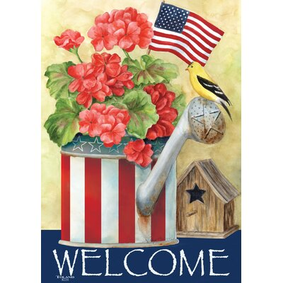 Patriotic Watering Can 2-Sided Garden flag