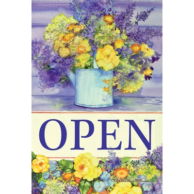 Open Watering Can Bouquet 2-Sided Garden flag
