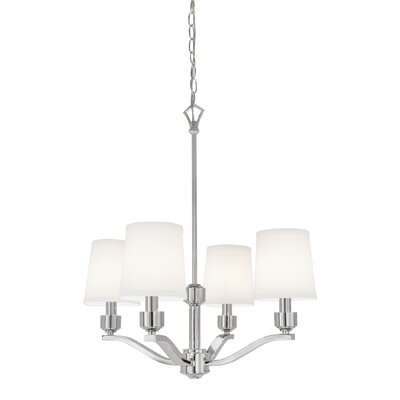 Roule 4-Light Shaded Chandelier Finish: Polished Nickel