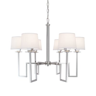 Borquez 6-Light Shaded Chandelier Finish: Polished Nickel