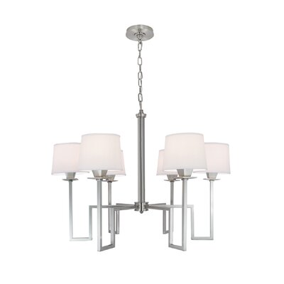 Borquez 6-Light Shaded Chandelier Finish: Brushed Nickel