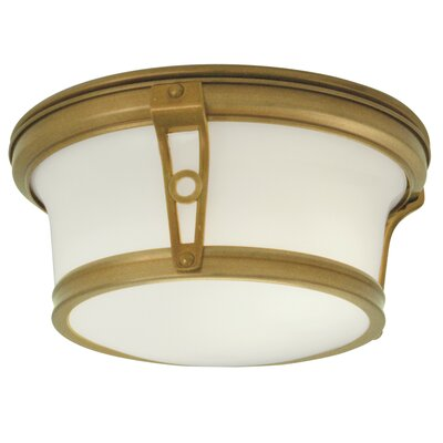Leah 2-Light Flush Mount Finish: Aged Brass, Size: 6 H x 13 W