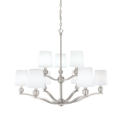 Roule 9-Light Shaded Chandelier Finish: Brushed Nickel