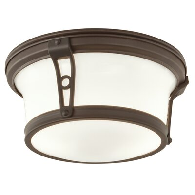 Leah 2-Light Flush Mount Size: 5 H x 10 W, Finish: Architectural Bronze