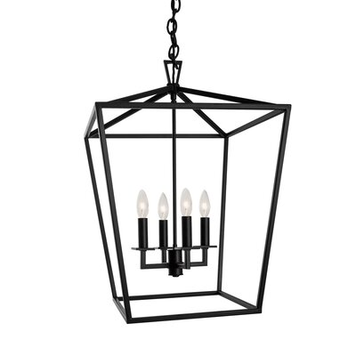 Cage 4-Light Foyer Pendant Finish: Dark Brown