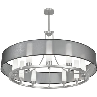 Ghost 9 Light Candle-Style Chandelier Finish: Brush Nickel, Shade Color: Black