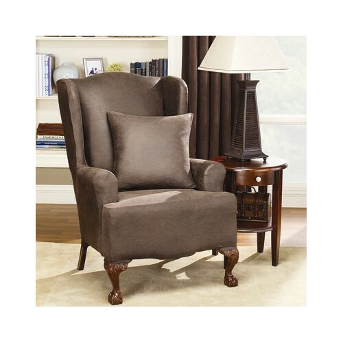 sure fit stretch leather wing chair slipcover ebay