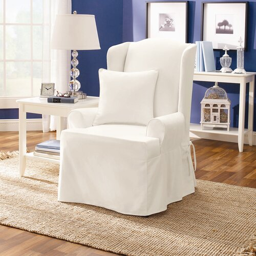 details about sure fit twill supreme wing chair slipcover in white