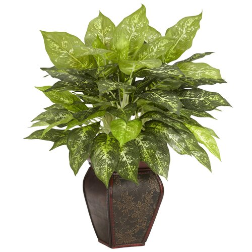 Nearly Natural Dieffenbachia Desk Top Plant in Decorative Vase