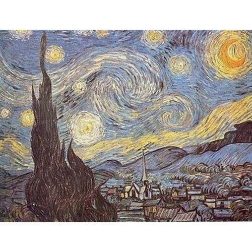 White Walls Hand Painted Starry Night Canvas Art