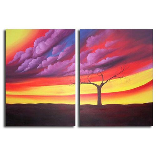 White Walls Hand Painted Purple Storm Canvas Art in Purple