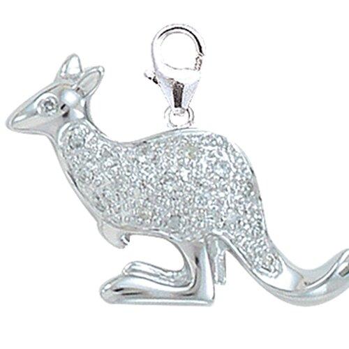 EZ Charms 14K White Gold Diamond Kangaroo Charm