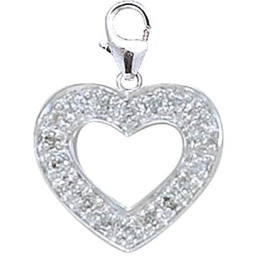EZ Charms 14K White Gold Diamond Heart Charm