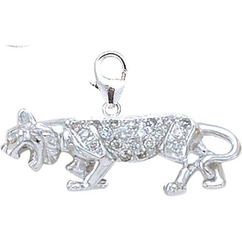 EZ Charms 14K White Gold Diamond Panther Charm