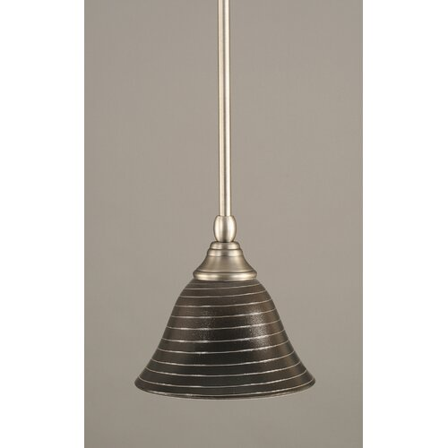 Toltec Lighting Any Stem Mini Pendant with 7 Charcoal Spiral Glass