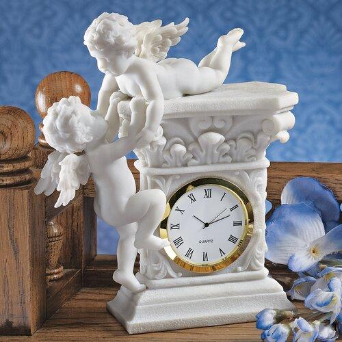 Tischuhr Zwillingscherubinen | Dekoration > Uhren > Standuhren | Weiß | Design Toscano