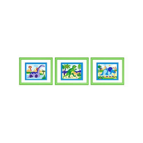 Olive Kids Dinosaur Land Print with Green Frame (Set of 3)   FG DINO