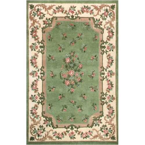 American Home Rug Co. Floral Garden Aubusson Light Green