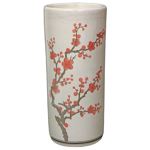 Oriental Furniture 18 Cherry Blossom Umbrella Stand in Off White