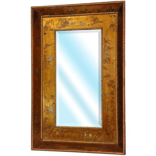 Oriental Furniture Wide Wall Mirror in Antique Gold Leaf Lacquer