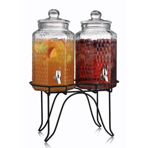 home essentials del sol hammered glass double drink dispenser on stand 1842 ebay. Black Bedroom Furniture Sets. Home Design Ideas
